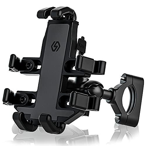 GOURIXIN Motor-gsm-houder met USB-oplaadpoort, verstelbare 360 ° draaibare motor-gsm-houder, geschikt voor smartphones met een breedte van 3-4 inch/hoogte 5-7 inch