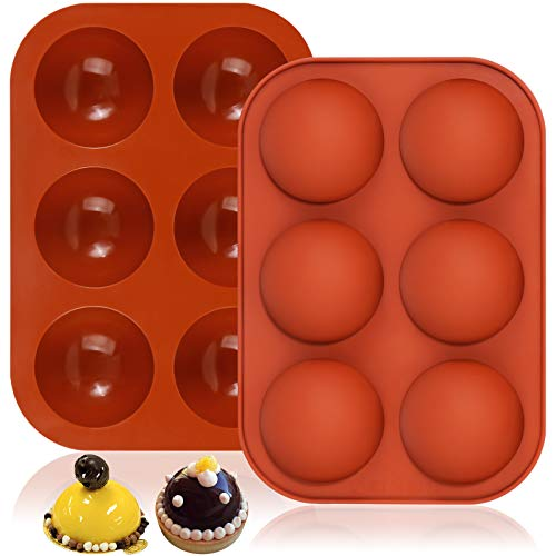 MIKIMIQI 2 Pack Semi Sphere Silicone Mold 6-Cavity Silicone Chocolate Molds Medium Half Sphere Baking Molds for Making Chocolate, Cake, Jelly, Dome Mousse, Handmade Soap Mould
