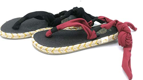 Nalho Karabi Sandalo Infradito Tessuto Nero Rosso - Taglia Scarpa 41 Colore Rosso