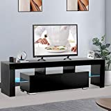 Mecor Modern Black TV Stand with Lights. LED TV Stand with Storage and 2 Drawers.High Gloss TV Stand for 65 Inch TV Living Room Furniture
