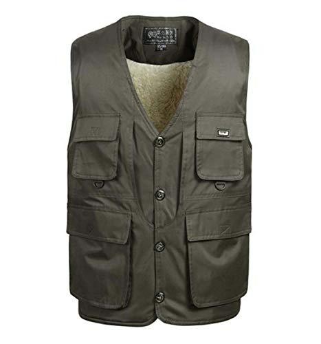 GL SUIT Für Männer mit V-Ausschnitt Gepolsterte Gilet Körperwärmer Weste Fleece Multi-Tasche Weste Plüsch...