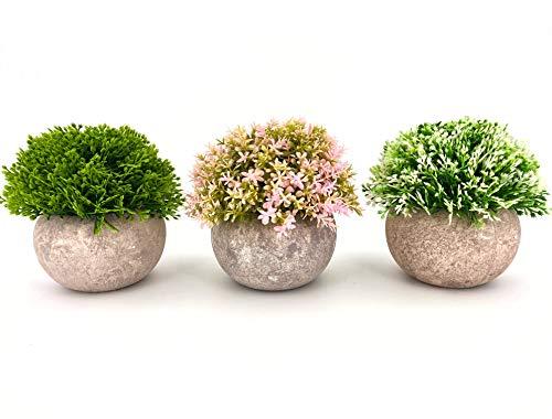 LUKATONI Kunstblumen Set im Topf wie echt, künstliche Tischpflanzen, Kunstpflanzen 3er Set Variation Kunstgras Deko klein Bonsai für Home Office Badezimmer Wohnzimmer Terrasse