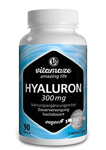 Vitamaze® Ácido Hialurónico Puro Capsulas, 300 mg Alto Concentrado por Capsula Vegano para 3 Meses, alta Biodisponibilidad, Tamaño Molecular de 500-700 kDa, Natural sin Aditivos Innecesarios
