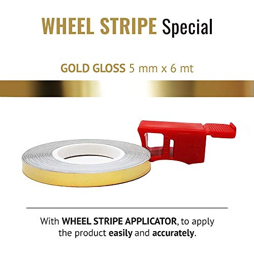 Universal Motorcycle Wheel Rim Tape and APPLICATOR Gold Gloss 5MM