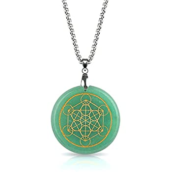 Green Aventurine Crystal Necklace | LUXAR | Spiritual Pendant | Stone of Opportunity | Metatrons Cube Design | Silver Metal Chain | 1.57 Inch Diameter Pendant and Presentation Box