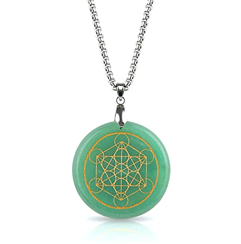 Green Aventurine Crystal Necklace   LUXAR   Spiritual Pendant   Stone of Opportunity   Metatrons Cube Design   Silver Metal Chain   1.57 Inch Diameter Pendant and Presentation Box