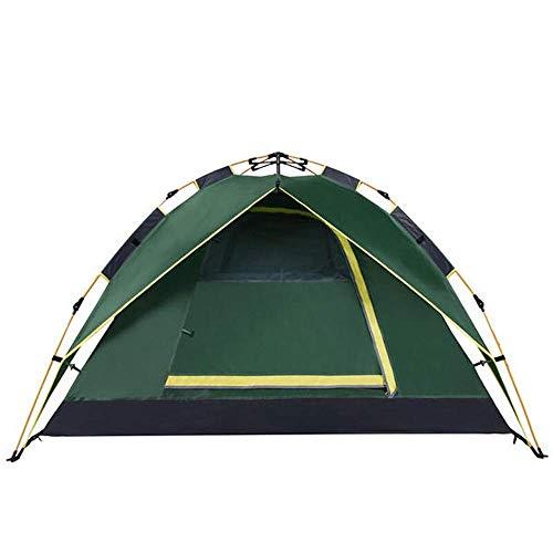 Tienda de lujo de doble capa Cortavientos impermeable Equipo portátil para exteriores 200x200x135cm Tienda de campaña para 3-4 personas para pesca con mochila (Color: Verde, Tamaño: 200x200x135cm)