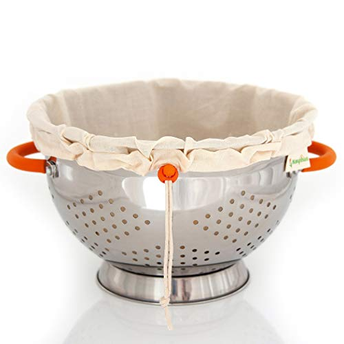 Kleynhuis Greek Yogurt Strainer Set: Stainless Steel Colander with Organic Cotton Strainer Pouch | Premium Greek Yogurt Maker, Large 5-Quart Size