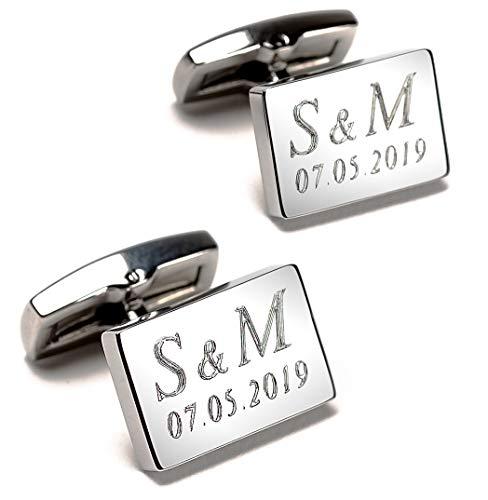 Manschettenknöpfe mit Text-Gravur - echte Diamantgravur - rechteckig, Silber glänzend - Initialen & Datum gravieren Lassen