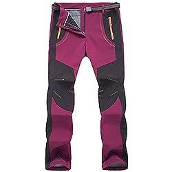 LY4U Outdoor-Wanderhose für Frauen Schnelltrocknende leichte und Dicke, wasserfeste Fleece-Kletterhose mit Reißverschlusstaschen