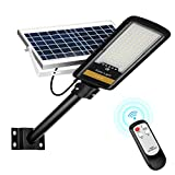 80W Farolas Solares Exterior 6000K 84LEDs Focos Led Exterior Solares con Soporte y Control Remoto Luces Solares para el Jardín/Camino/Entrada