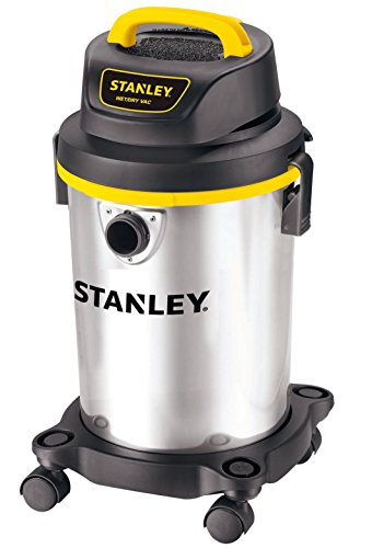 Stanley 4 Gallon Wet Dry Vacuum , 4 Peak HP Stainless Steel 3 in 1 Shop Vac Blower with Powerful Suction, Multifunctional Shop Vacuum W/ 4 Horsepower Motor for Job Site,Garage,Basement,Van,Workshop