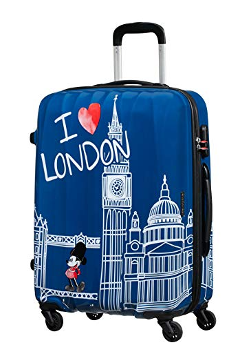 American Tourister Disney Legends Spinner M Maleta Infantil, 65 cm, 62.5 L, Azul (Take Me Away Mickey London)