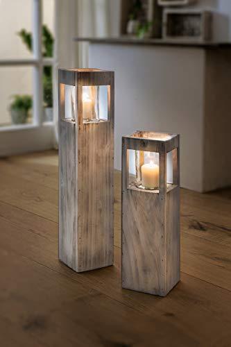 "Windlicht-Säule ""Shabby-Charme"" groß aus Holz & Glas, 70 cm hoch, Kerzenhalter, Kerzenständer, Dekosäule"