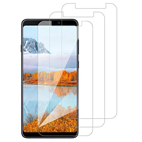 [3 Pack] Amonke Protector Pantalla para Samsung Galaxy A9 2018 Cristal Vidrio Templado, Plana pero Incompleta Cobertura, 9H Dureza 2.5D curvo Borde Screen Protector para Samsung Galaxy A9 2018