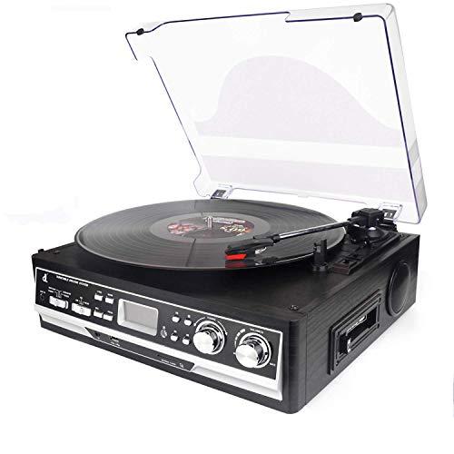 Plattenspieler, dl Kassette 4-in-1 mit Fernbedienung, Bluetooth, UKW-Radio, Kassettenrekorder, USB, SD und Codierung, 3-Gang-Record Player mit 33/45/78 Vinyl-Plattenspieler Schwarz