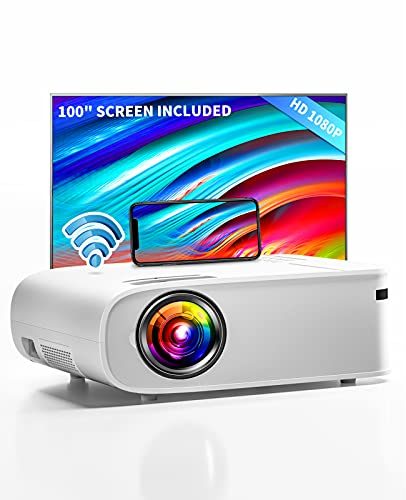 """ARTSEA 5G WiFi Projector for iPhone, Native 1080P Projector 9500L Full HD Projector Outdoor Video Projector 300"""", Synchronize Smartphone & 4K Movie Projector Compatible with Laptop/TV Stick/HDMI/PS4"""