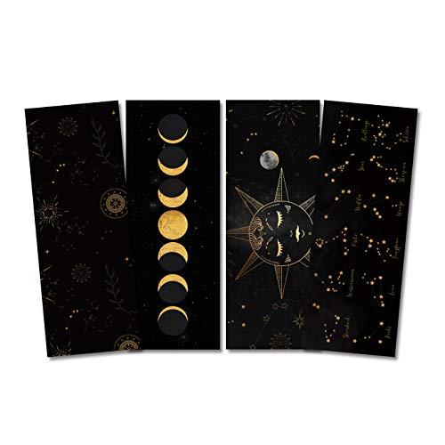 Lesezeichen Set ASTROLOGIE, 4 Lesezeichen Mond und Sterne Geschenk Freundin, Geschenk Frau, Lesezeichen Papier