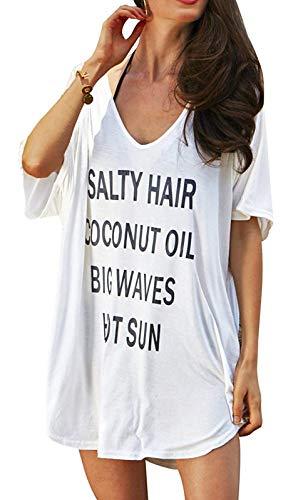 Damen Strandkleid Bikini Cover Up Sommer Strandponcho Strandkleider Damen Sommer Baumwolle Badeanzug Bedecken Pareos Sommer T-Shirt