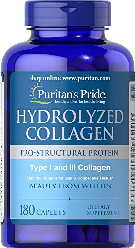 Puritans Pride Hydrolyzed Collagen 1000 Mg Caplets, 180 Count (Pack of 1)