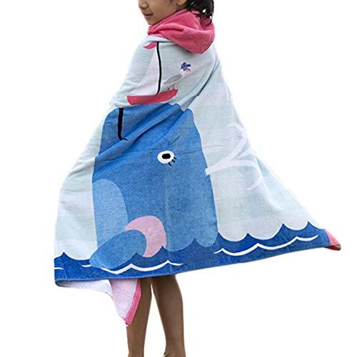 Comfysail 100% Baumwolle Kinder Kapuzen Poncho Handtuch Bade Badetuch für Jungen und Mädchen von 2-7 Jahren Strand 76 * 127cm (Delphin)