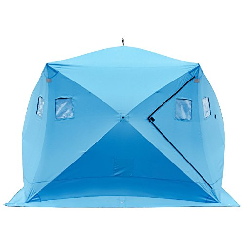 Tangkula Pop-up Ice Shelter 4-Person with Detachable Ventilation Windows & Carry Bag Frost Resisting Oxford Fabric Zippered Door Waterproof Portable Ice Fishing Tent Shanty, Blue