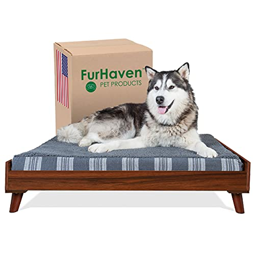 Furhaven Pet Furniture for Dogs and Cats - Mid-Century Modern Style Dog Bed Frame, Compatible with Furhaven Beds, Walnut, Jumbo