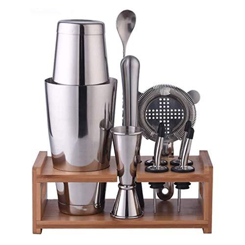 SFLRW Conjunto de barra de cócteles Shaker - Acero inoxidable cepillado Kit de herramientas de barra profesional de 10 piezas para la casa: ¡incluye coctelera, muddler, jigger, soporte de madera de ba