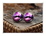 mustache earrings, mustache jewelry, hipster earrings, Space Galaxy Mustache earrings,Hipster Mustache stud earrings