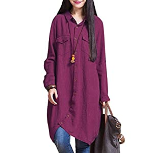 Women's Button Down Long Shirt Casual Cotton Linen Plus Size  Front Open Dress