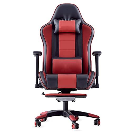 HXJU Silla de escritorio de la oficina de la silla del juego con la ayuda lumbar, silla del estilo del vintage silla del jugador de los E-Sports del cuero de la PU