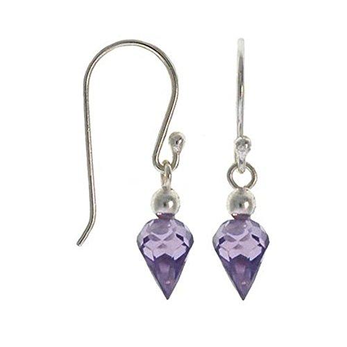 Sterling Silver Amethyst Cubic Zirconia Briolette-Cut Dangle Earrings