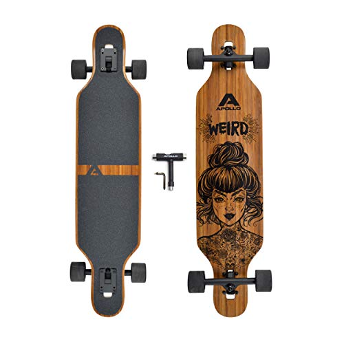 APOLLO Longboard for Professionals and Beginners; Long Board for Kids, Teens and Adults; Freeride Skateboard Cruiser and Downhill Longboards - Weird