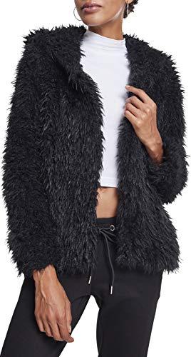 Urban Classics Damen Ladies Hooded Teddy Jacket Jacke, Schwarz (Black 00007), Medium