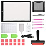 Light Pad for Diamond Painting Tracing Artists Drawing A4 LED Dimmable Brightness Light Box with Stand Roller USB Power Cable Adapter Ultra-Thin Light Board for Sketching Animation Stenciling