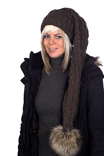 Beanie A 103 Mütze, Zipfelmütze, Pudelmütze, Wintermütze mit großer Fellbommel aus Fellimitat. Extra Lang mit weichem Fleece abgefüttert