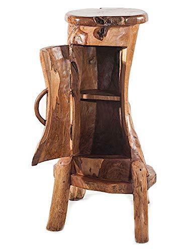 Windalf Handmade Rustikale Natur Minibar Berit 96 cm Uriger Badezimmerschrank Landhaus Kommode Nachtkasten Flurregal Alkoholkasten Unikat Wurzelholz