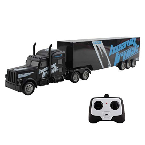 Vokodo RC Semi Truck And Trailer 18 Inch 2.4Ghz Fast Speed 1:16 Scale Electric Hauler Rechargeable Battery Included Remote Control Car Kids Big Rig Toy Vehicle Great Gift For Children Boy Girl (Black)