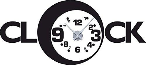 GRAZDesign 800046 muurtattoo klok wandklok met uurwerk voor de woonkamer spreuk klok cijfers klein groot Uhrwerk silber 070, zwart