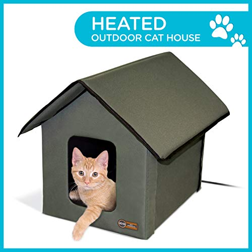 K&H Manufacturing Outdoor Heated Kitty House, Olive, 20W