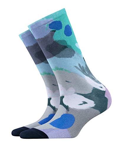BURLINGTON Damen Socken Painted Flower - Baumwollmischung, 1 Stück, Blau (Mint 6893), Größe: 36-41