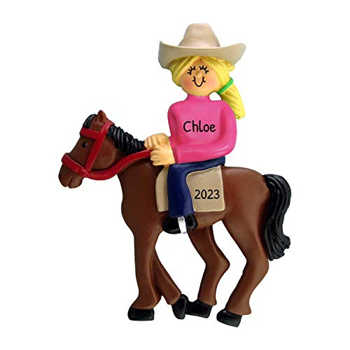 Personalized Horseback Riding Christmas Tree Ornament 2020 - Blonde Horsewoman Equestrian with Western Hat on Trail Lesson Teacher Race Sports Activity - Free Customization (Yellow Hair)