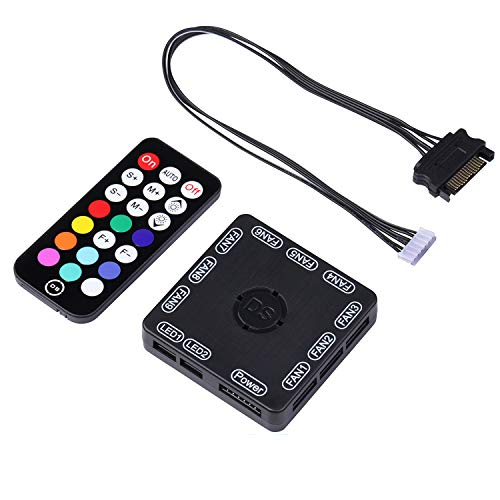 DS Rainbow RGB Fan LED Sync Controller only for DS Fans (with 21key RF Remote, SATA Power Cable, 4th Gen, A D E Series)