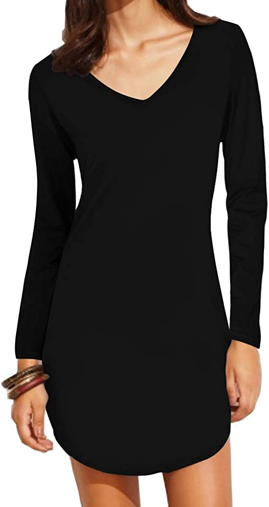 Haola Women's Long Sleeve Slim Fit Shirts Mini Dresses Floral Print Juniors Dress Top