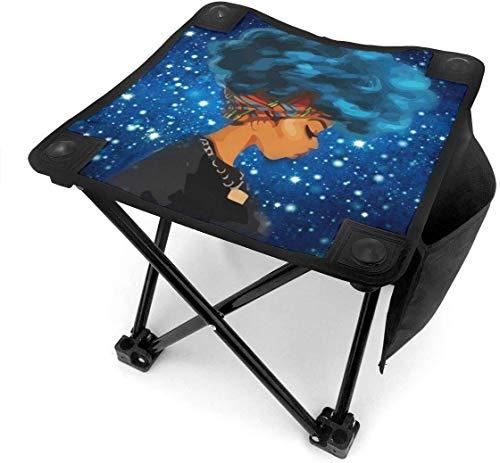 GuyIvan Camping Hocker Falten Blaues Haar Afrikanische Frauen Galaxy Tragbarer Stuhl Camping Jagen Angeln Reisen Mit Tragetasche