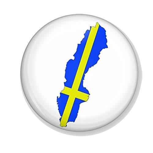 Gifts & Gadgets Co. Kühlschrankmagnet Schwedenflagge auf der Karte von Schweden 38 mm, klein, Bedruckt, rund, Kühlschrankmagnete