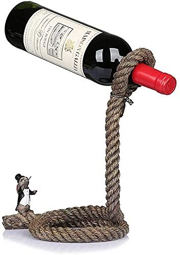 Botelleros y armarios para vino Soporte para botella de vino, soporte mágico, soporte para botella de mesa, lazo, estante para vino, decoración, almacenamiento, oficina en casa, accesorios de decora
