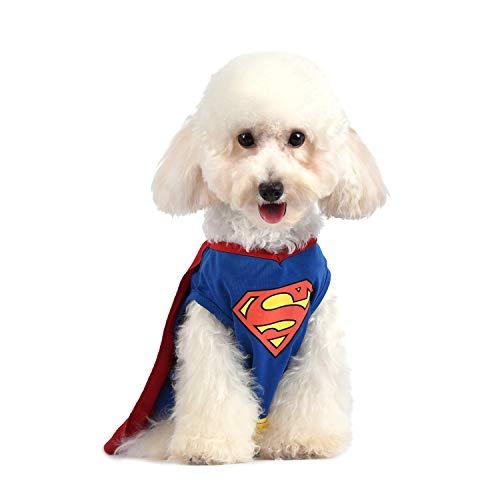 DC Comics Superman Hundekostüm | Superheldenkostüm für Hunde | rot, blau und gelb | Superman Hund Halloween Kostüm mit Umhang, erhältlich in Mehreren Größen, Superman, X-Small, blau