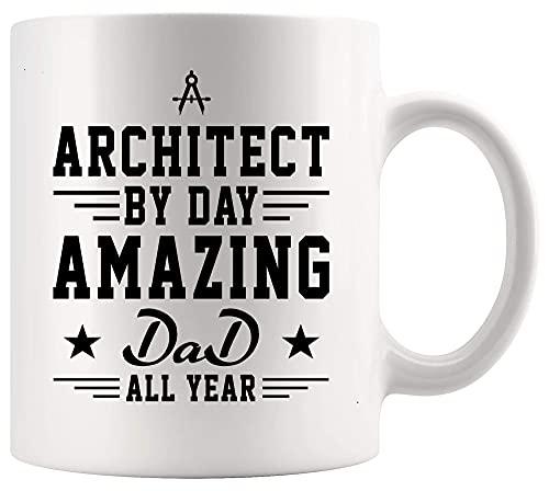 N\A Arquitecto Arquitectura Taza Copa Arquitecto por día increíble papá Todo el año Arquitectura Arcitecturing Padre 11oz Copa