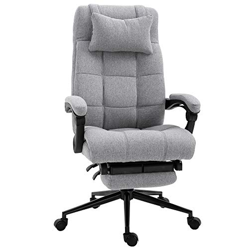 Vinsetto Executive Linen-Feel Fabric Office Chair High Back Swivel Task Chair with Upholstered Retractable Footrest, Headrest and Padded Armrest, Light Grey